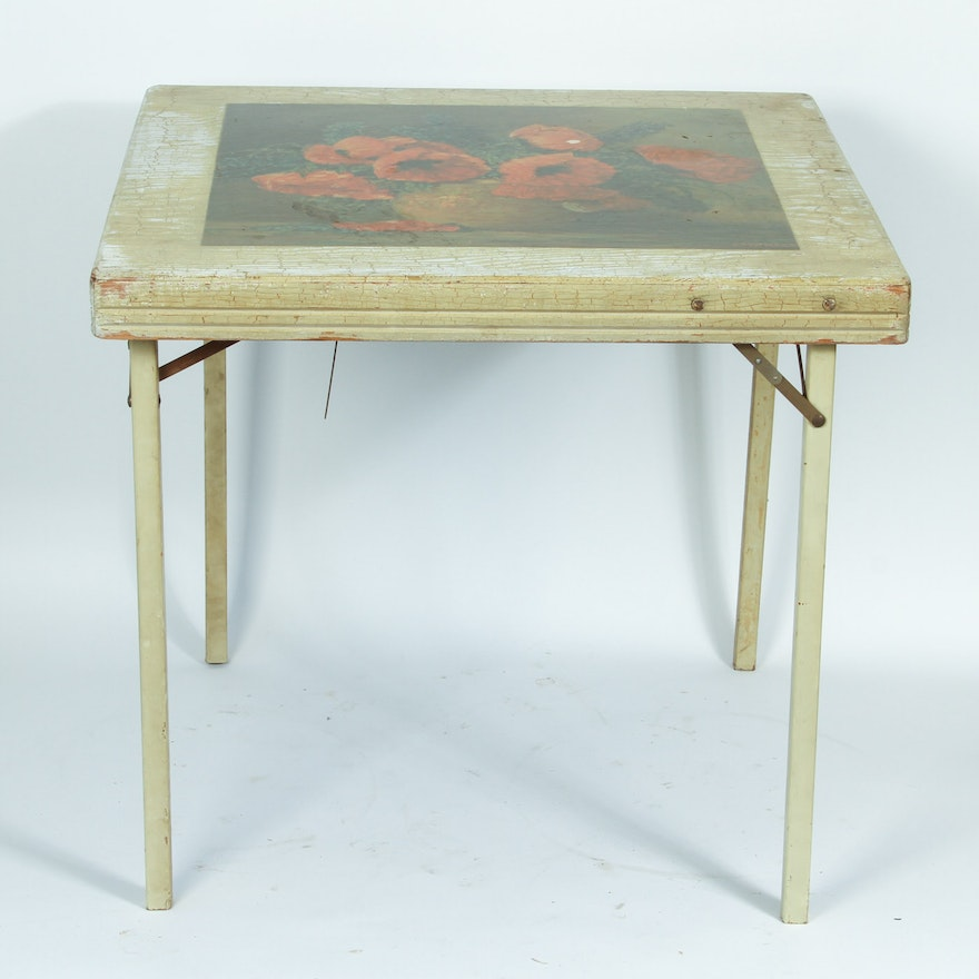 vintage folding table with max streckenbach reproduction print ebth. Black Bedroom Furniture Sets. Home Design Ideas