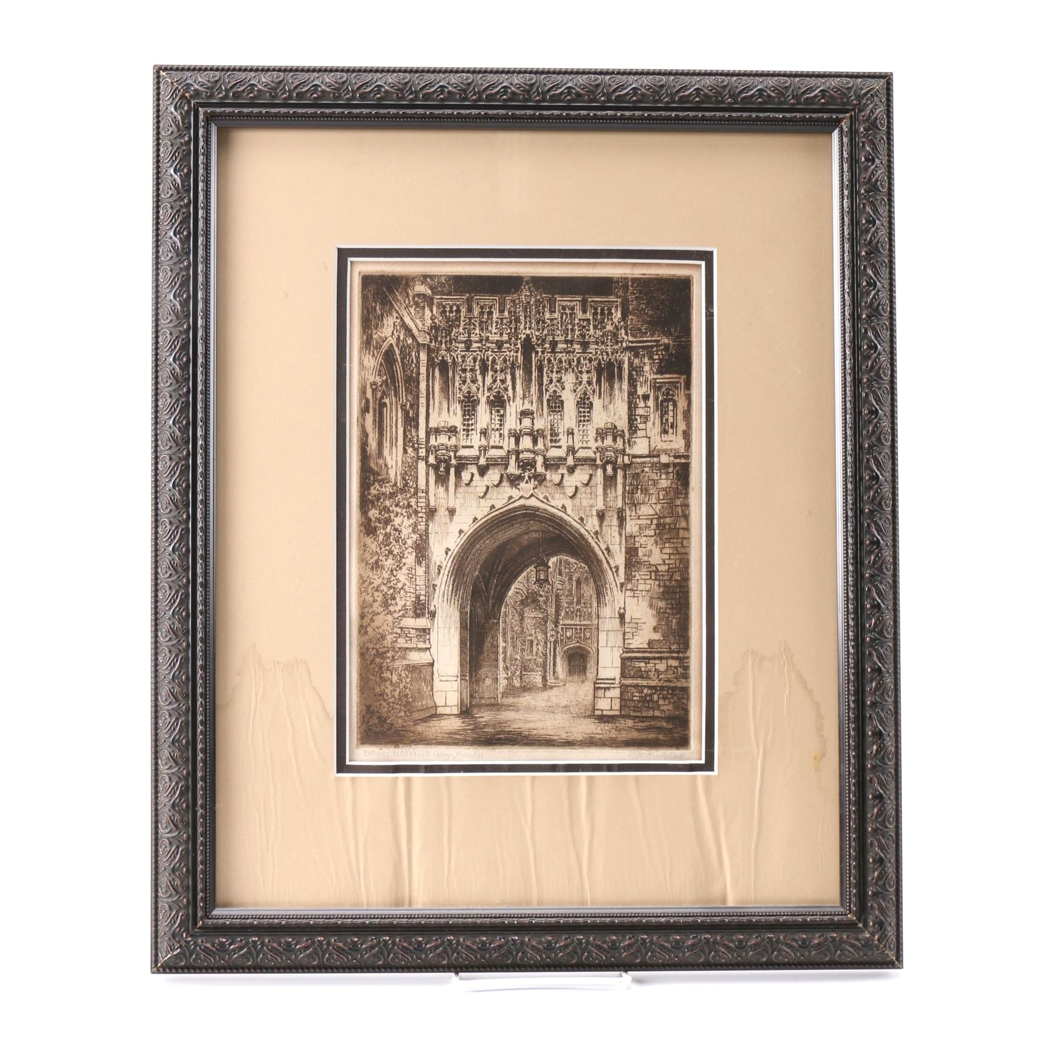 """George Bradshaw Etching on Paper """"Entrance to Graduate College, Princeton"""""""