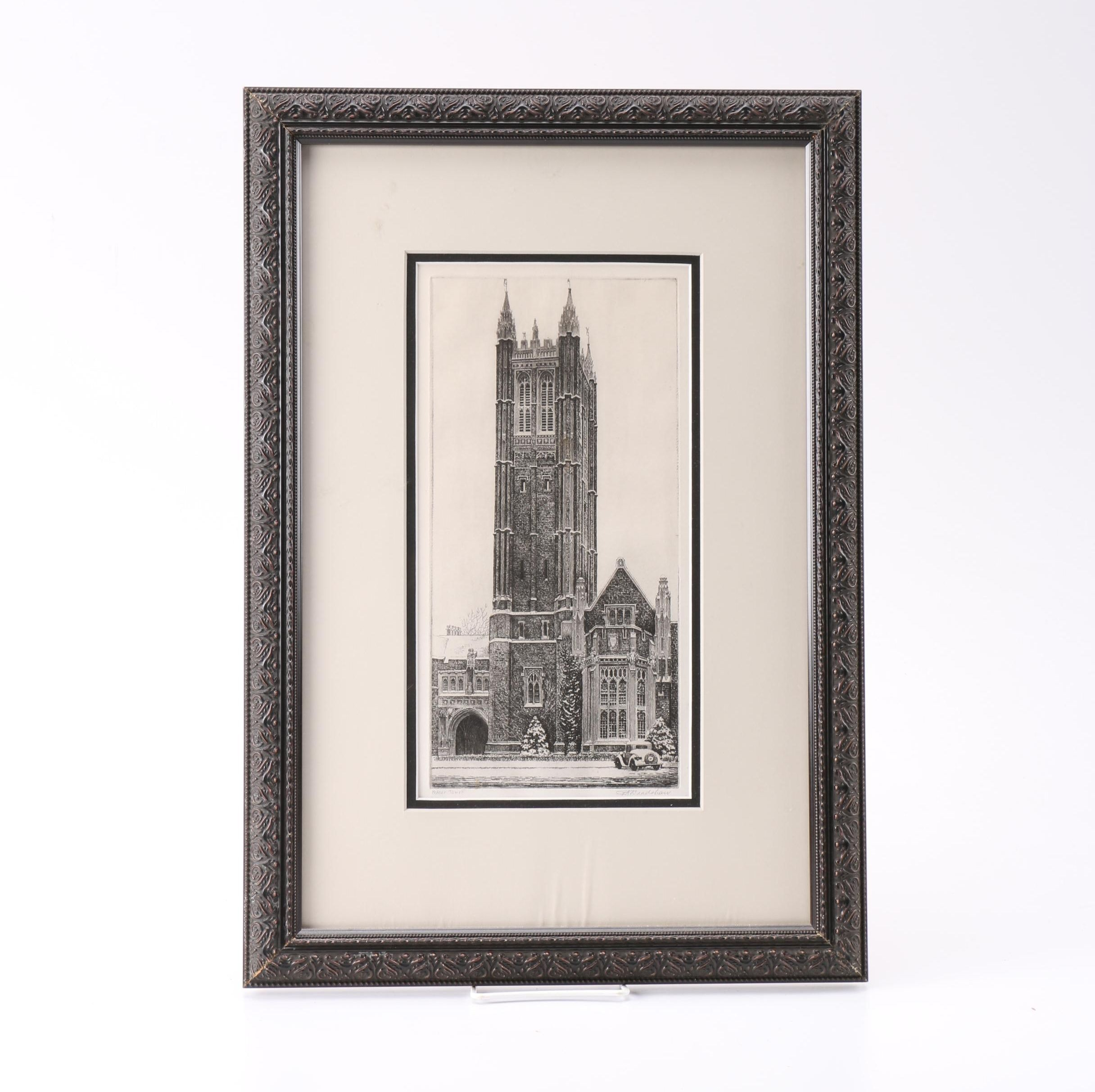 """I. A. Bradshaw Etching on Paper """"Holder Tower"""""""