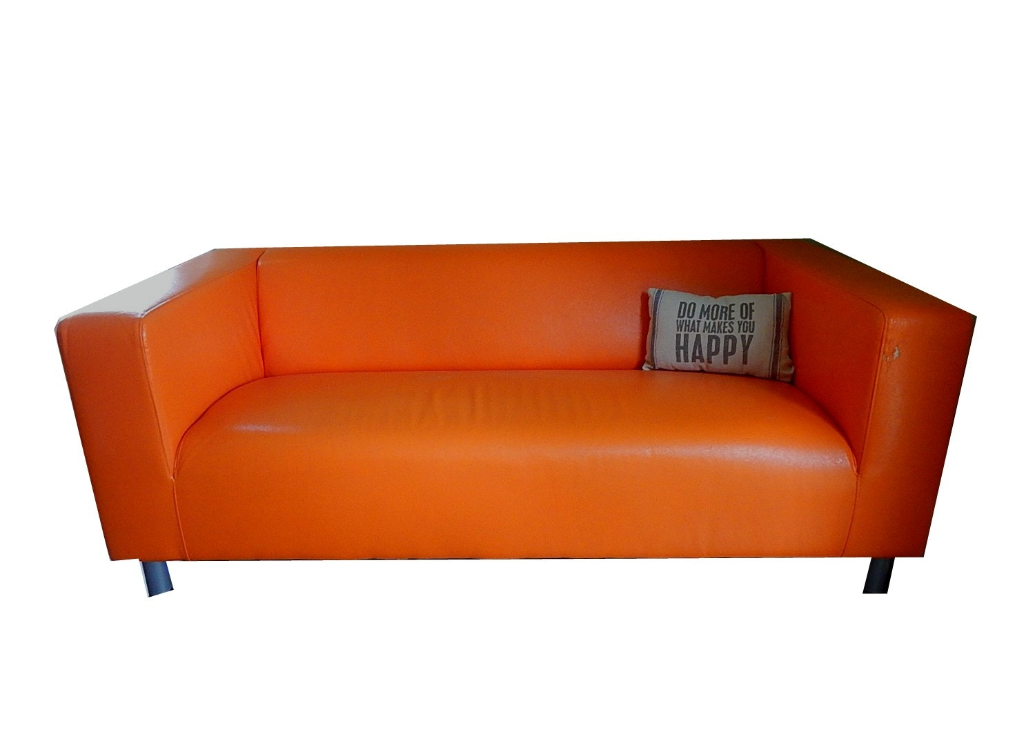 ikea klippan orange sofa with pillow ebth rh ebth com ikea friheten sofa orange ikea orange sofa cover