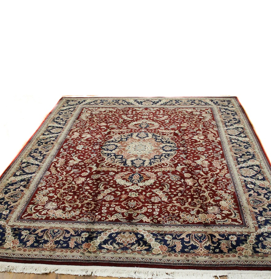 Persian Hand Knotted Kashan Silk And Wool Area Rug Ebth: Hand-Knotted Kashmir Wool Area Rug : EBTH