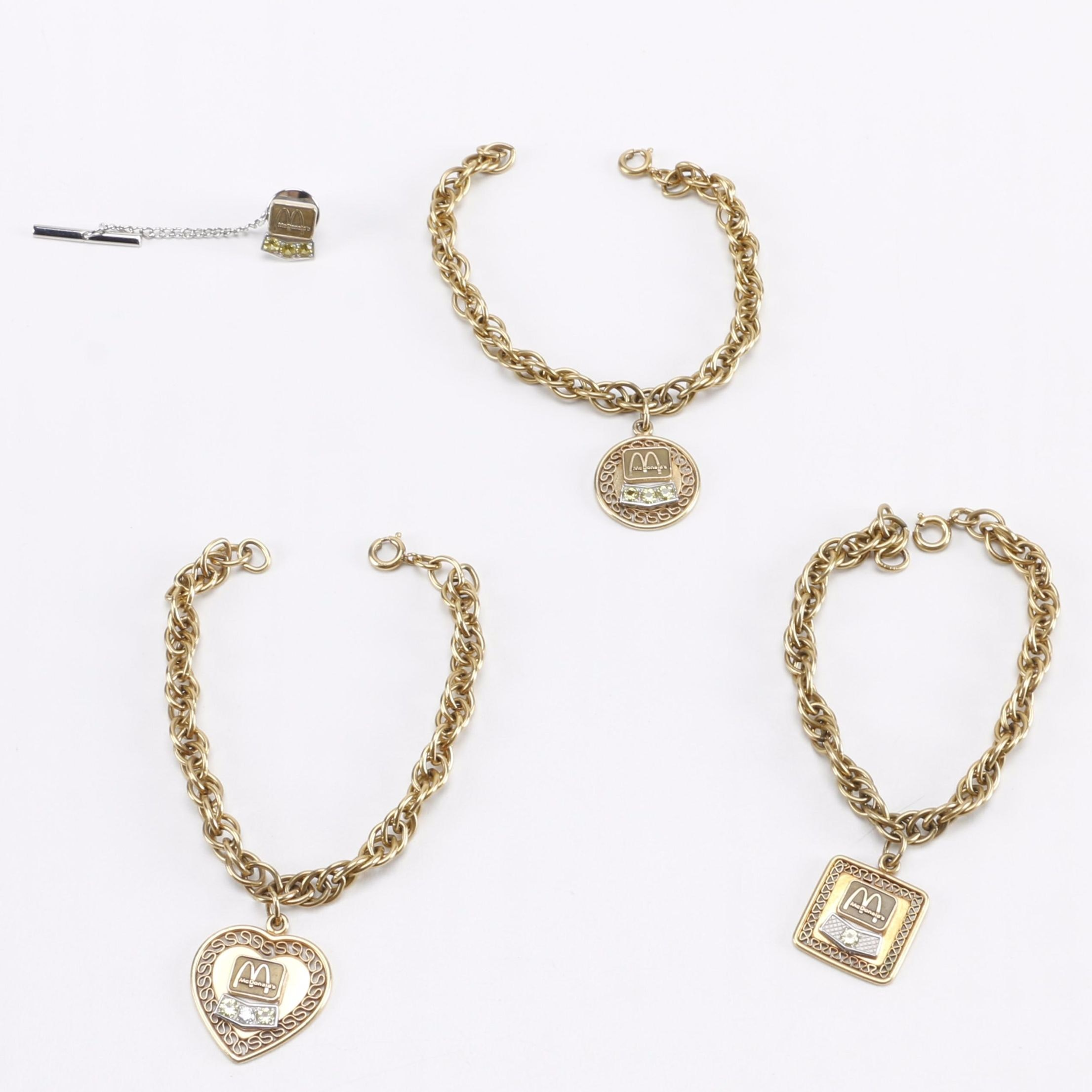 Gold Filled McDonald's Jewelry Including a Diamond Charm