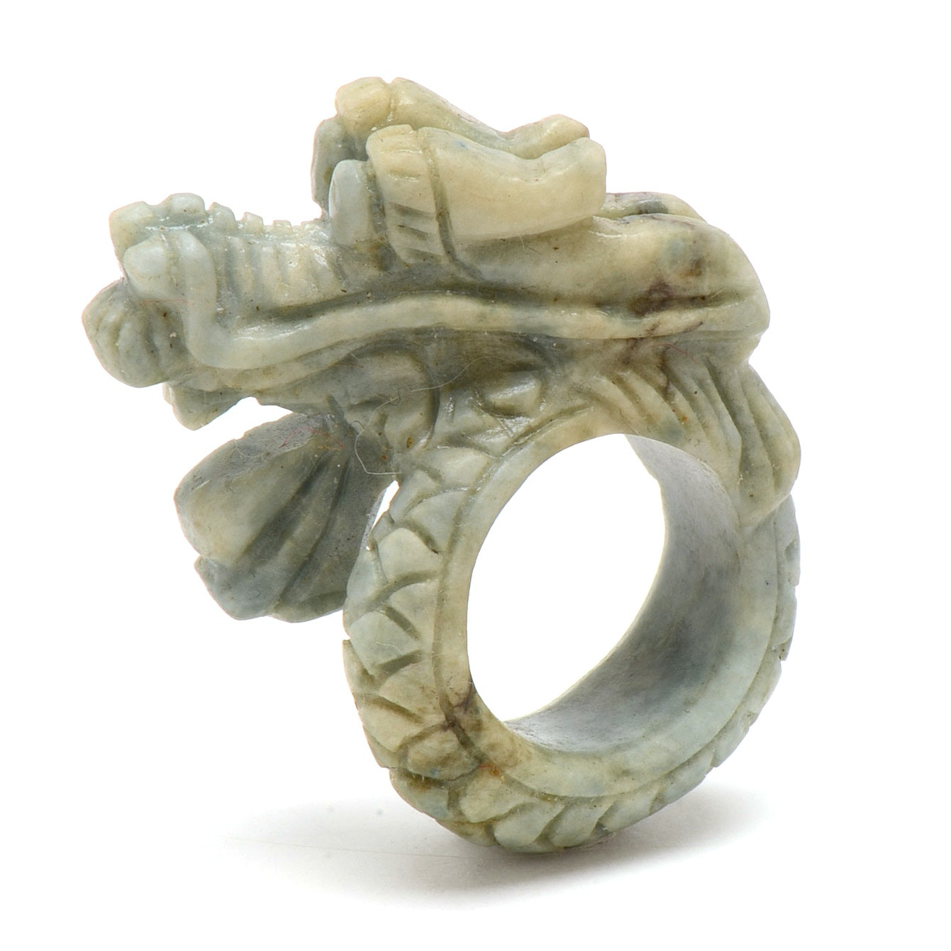 Chinese Carved Serpentine Dragon Ring