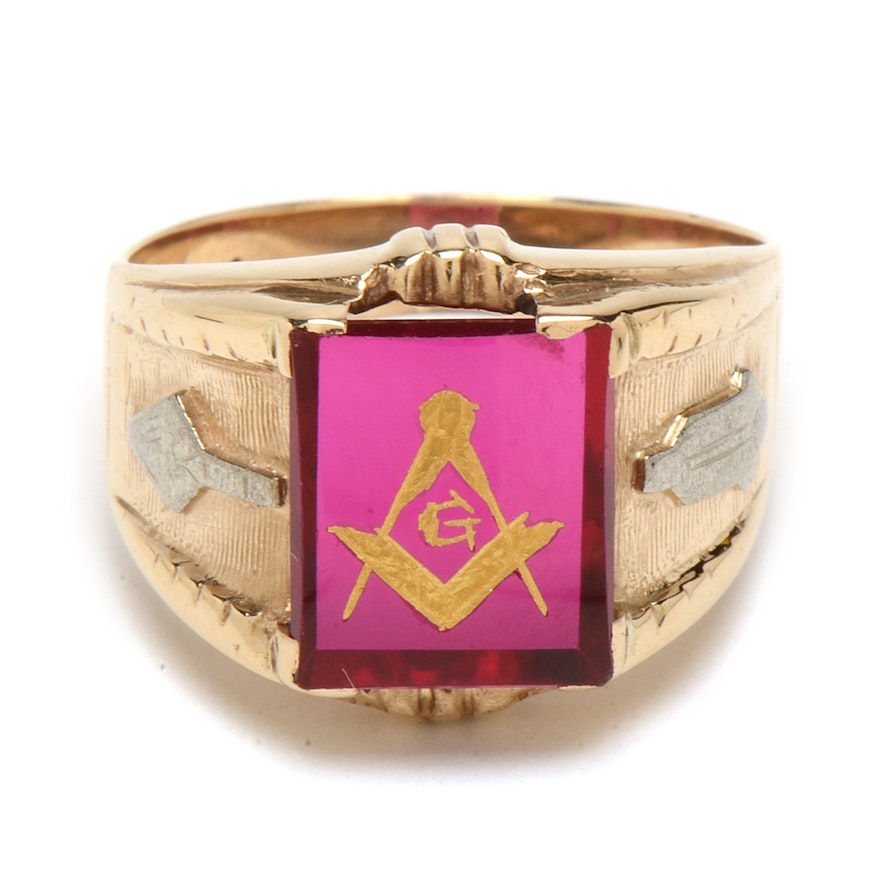 Men's Vintage 14K Yellow Gold Synthetic Ruby Masonic Ring