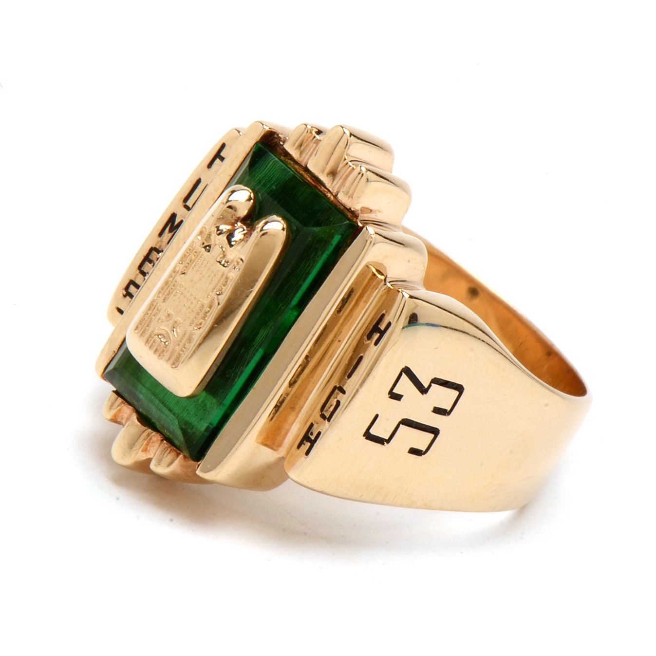"""1953 Vintage 14K Yellow Gold """"Humes High School"""" Class Ring"""
