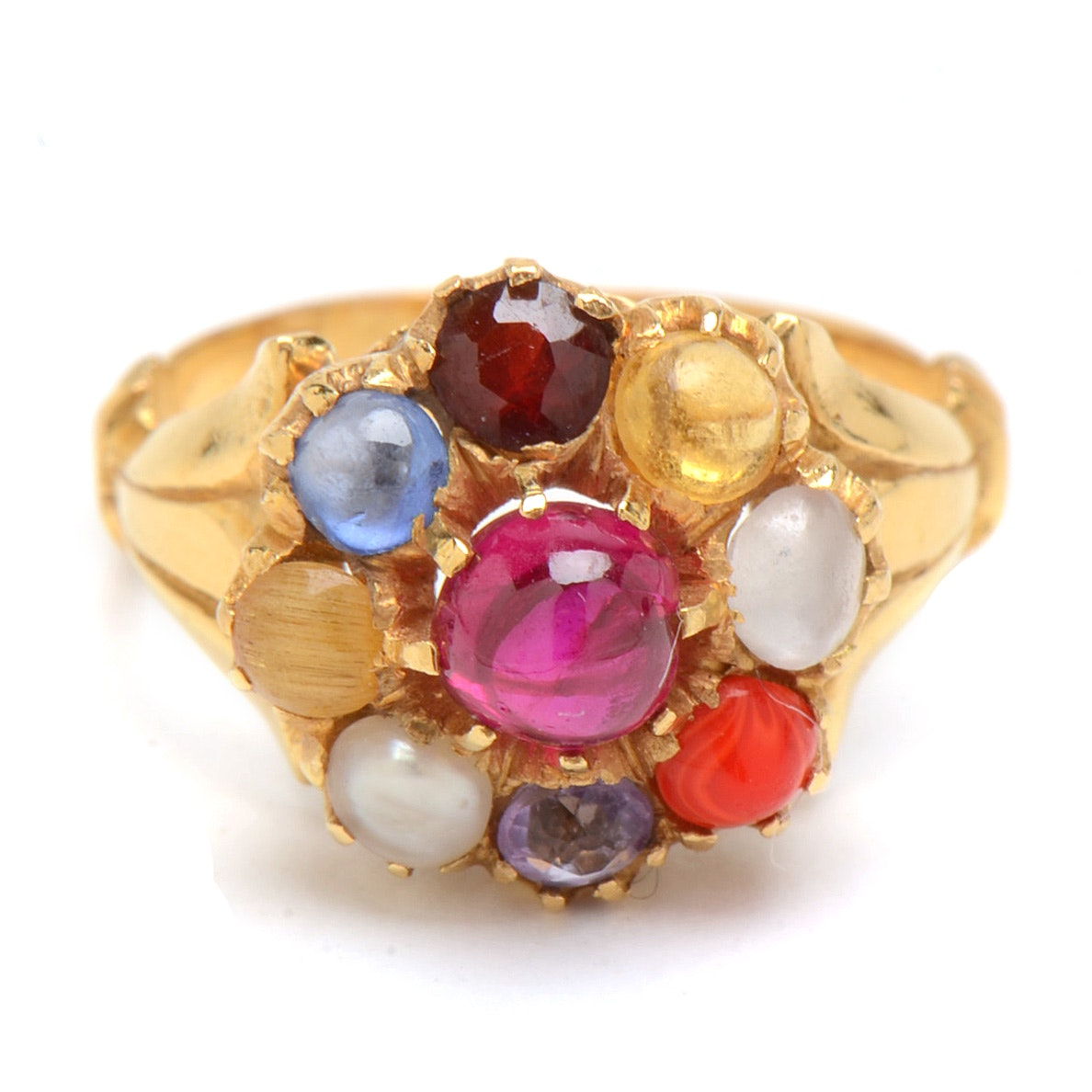 Vintage 14K Yellow Gold Multi-Color Stone Ring