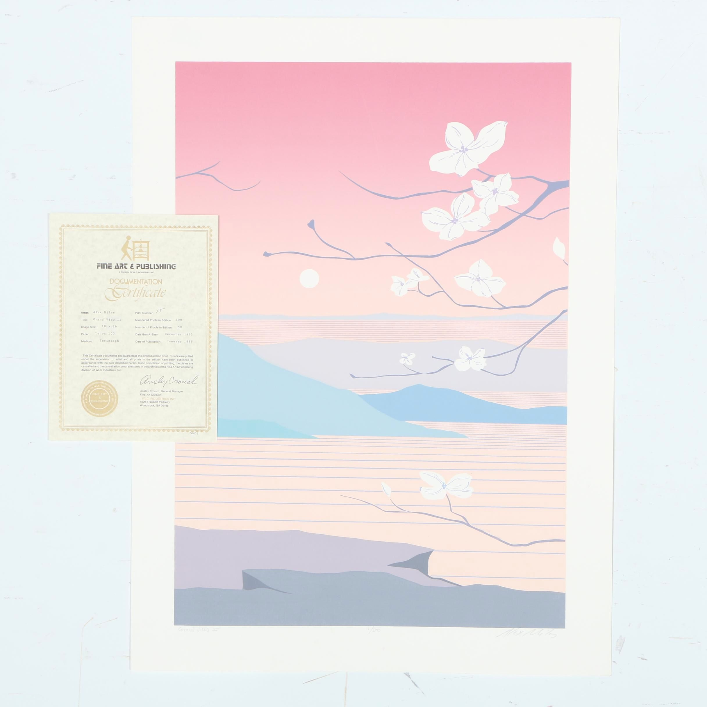 "Alex Miles Signed Limited Edition Serigraph on Paper ""Grand View II"""