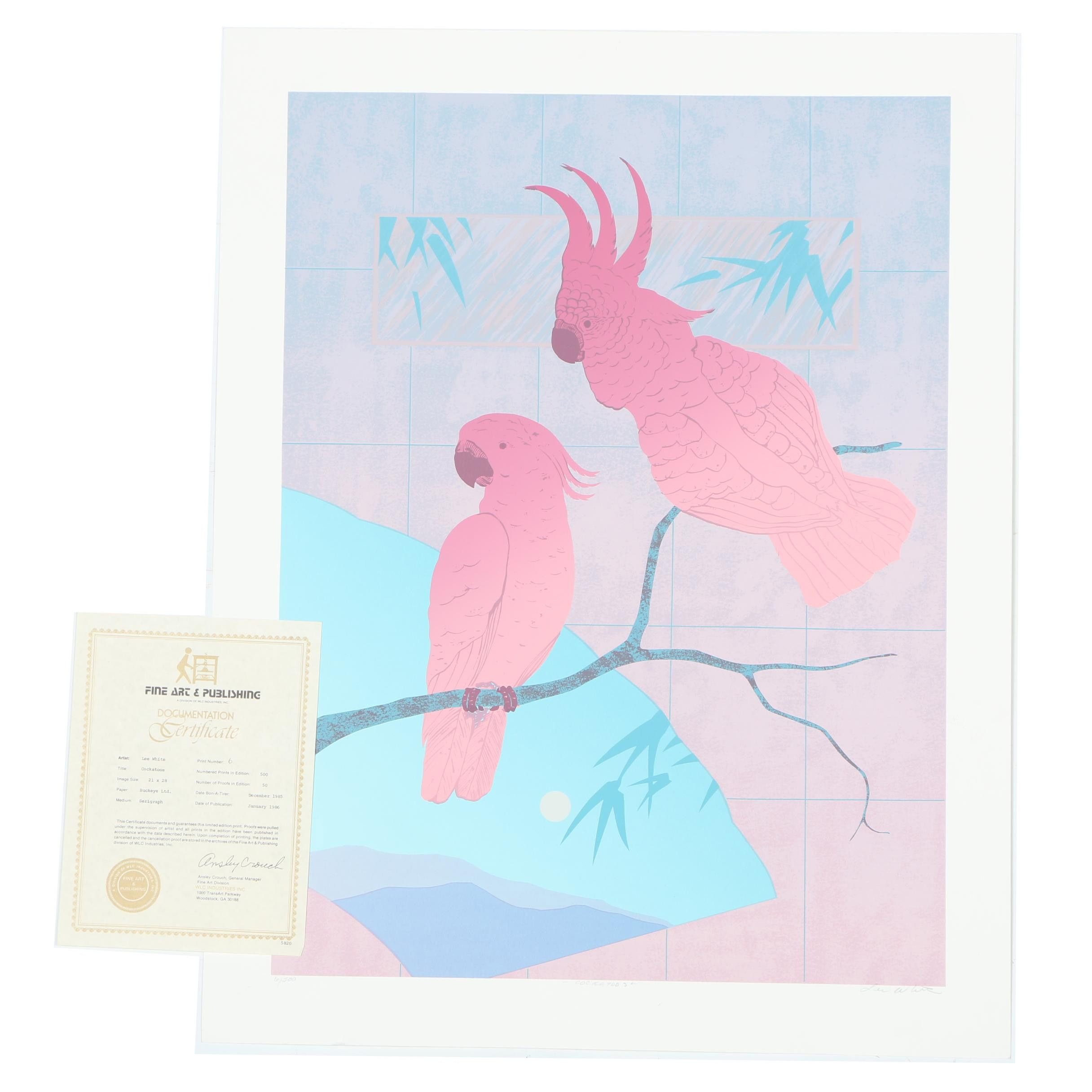 "Lee White Limited Edition Serigraph on Paper ""Cockatoos"""