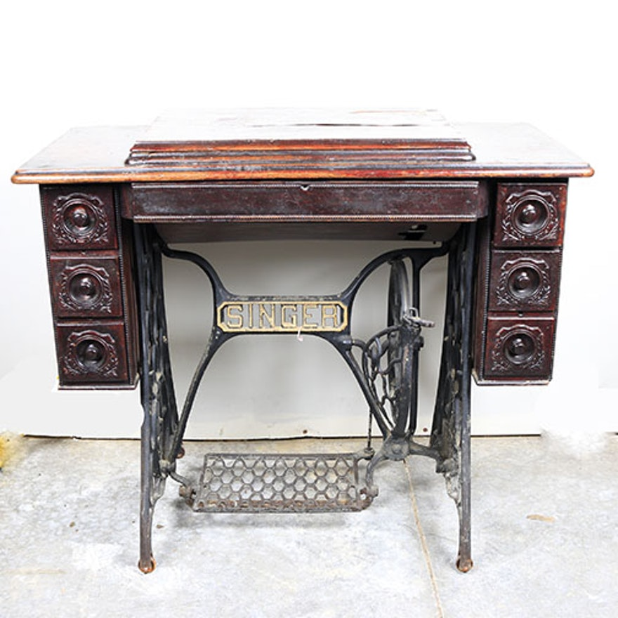 Antique singer sewing machine with treadle base ebth antique singer sewing machine with treadle base watchthetrailerfo