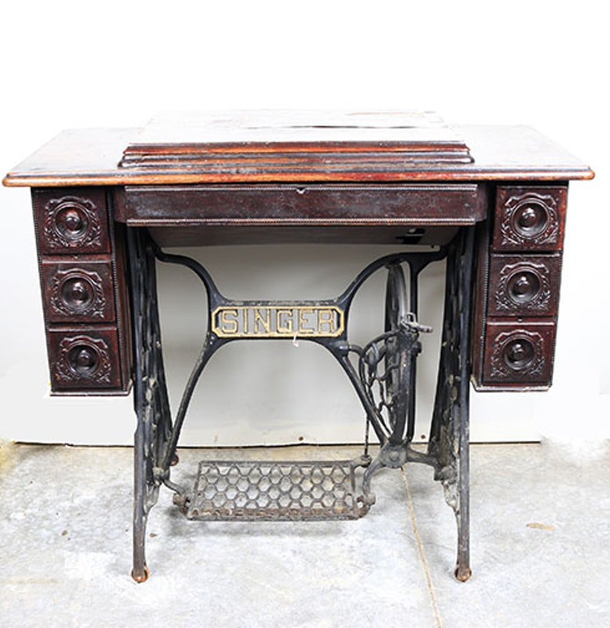 antique singer sewing machine with treadle base ebth. Black Bedroom Furniture Sets. Home Design Ideas