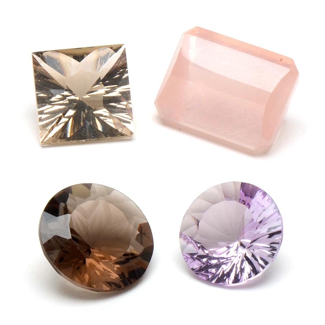 Loose Amethyst, Smoky Quartz, Rose Quartz Gemstones
