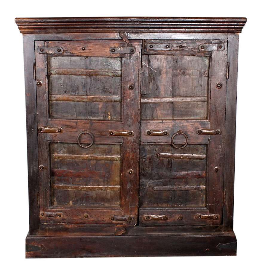 Antique asian elm cabinet ebth for Antique asian cabinet
