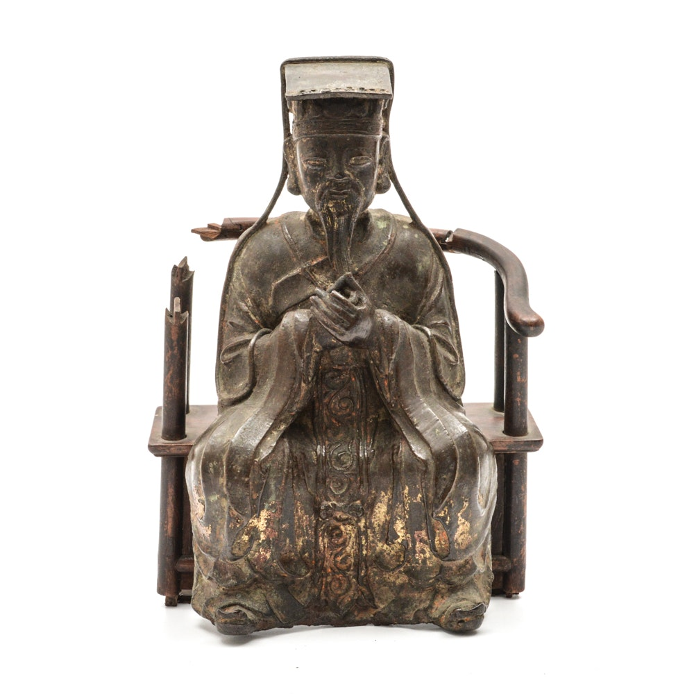 Chinese Ming Dynasty Parcel-Gilt Bronze Figure on Teak Roundback Armchair