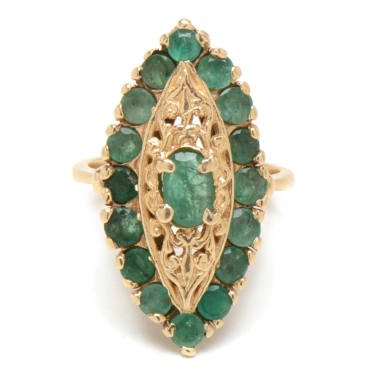 Vintage 14K Yellow Gold Emerald Marquise Shaped Openwork Ring