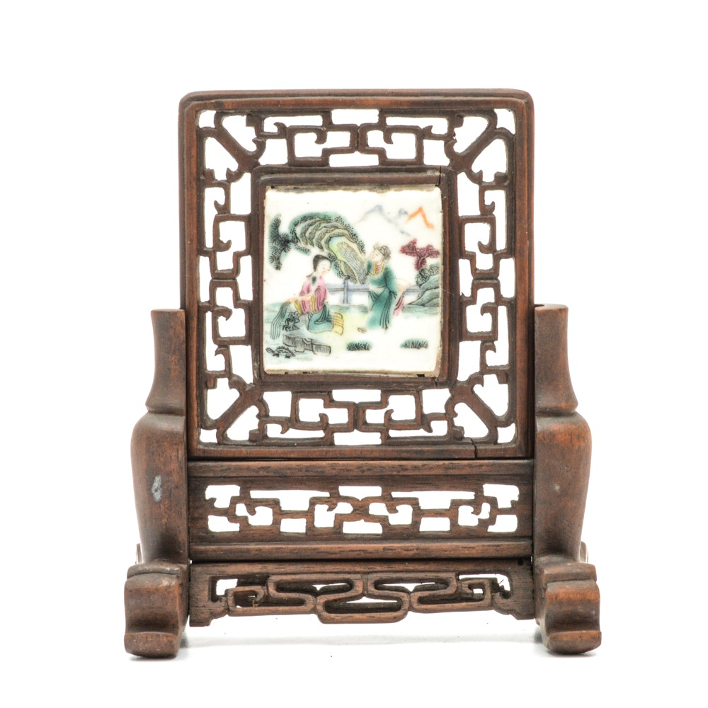Antique Chinese Painted Porcelain Tile and Teak Table Screen