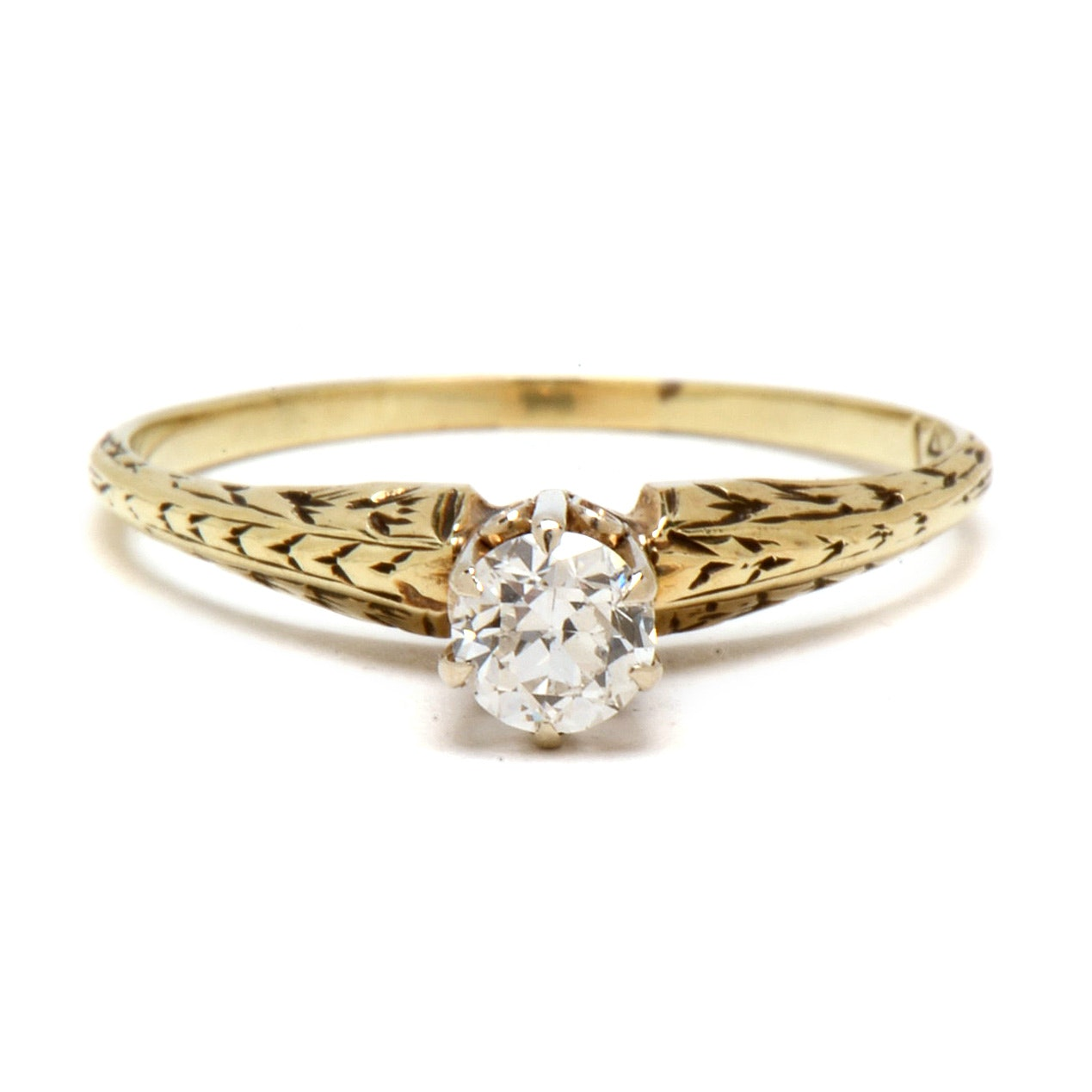 Vintage 14K Yellow Gold Diamond Solitaire Ring with Engraving