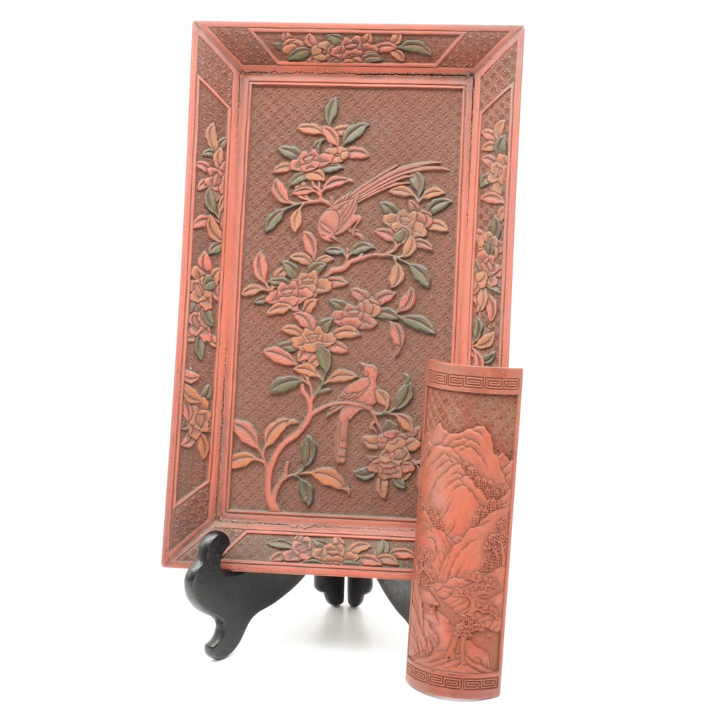 Fine Chinese Qianlong Period Lacquer Tray With Antique Wrist Rest