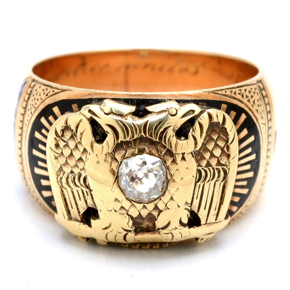 Men's Vintage Masonic 14K Yellow Gold Diamond and Enameled Ring