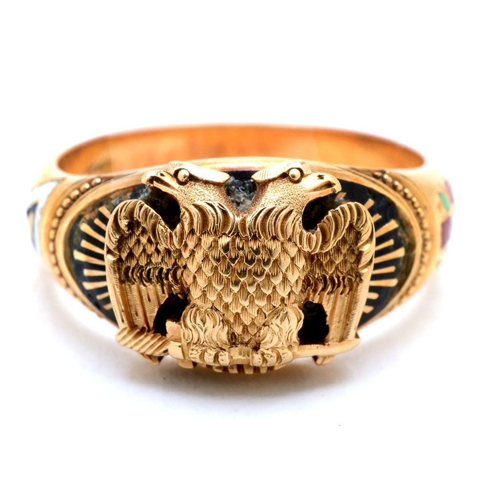 Women's Vintage 14K Yellow Gold Enameled Ring