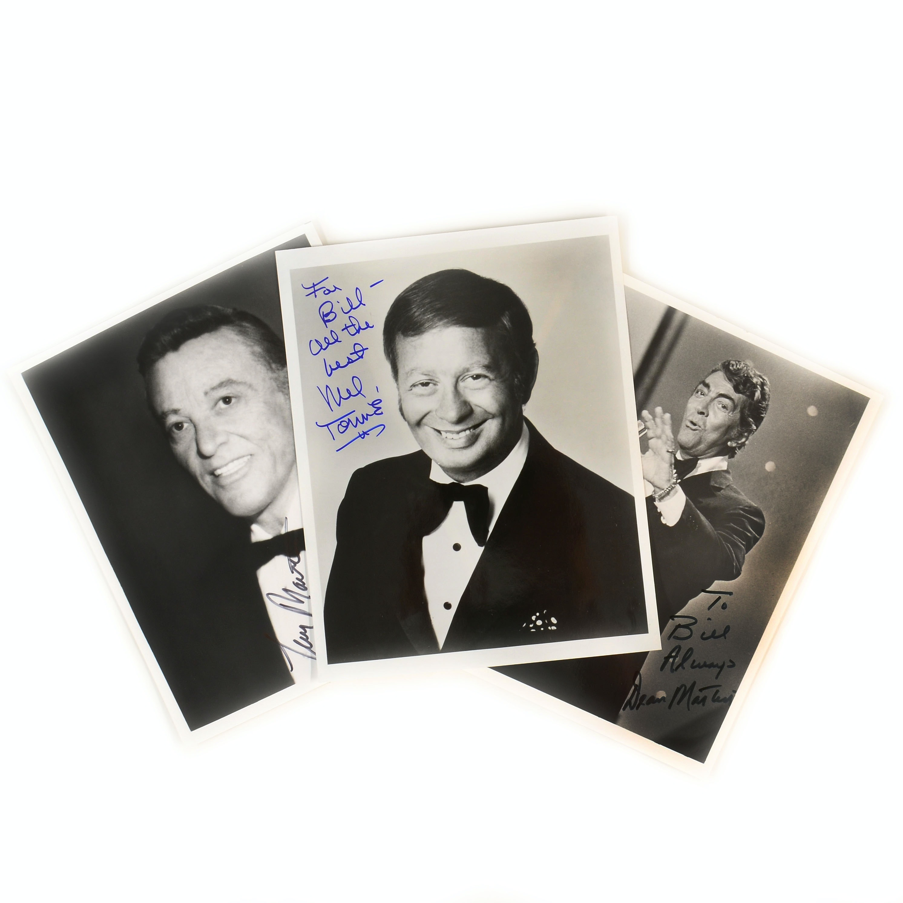 Dean Martin, Mel Torme, and Tony Martin Signed Photos
