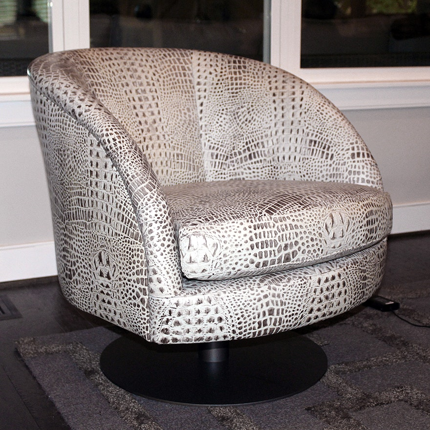 Stupendous Faux Alligator Swivel Barrel Chair Andrewgaddart Wooden Chair Designs For Living Room Andrewgaddartcom