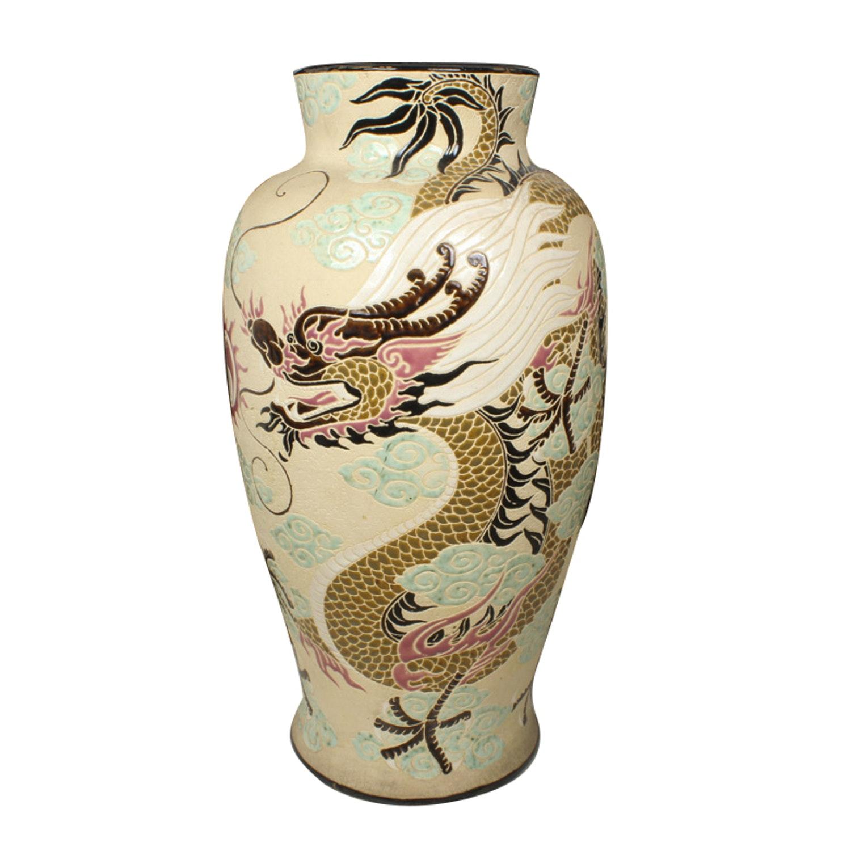 Asian Inspired Ceramic Dragon Vase