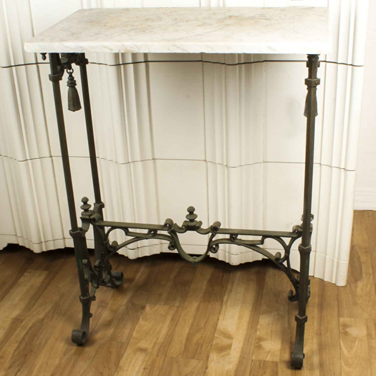 Victorian Wrought Iron Side Table with Marble Top