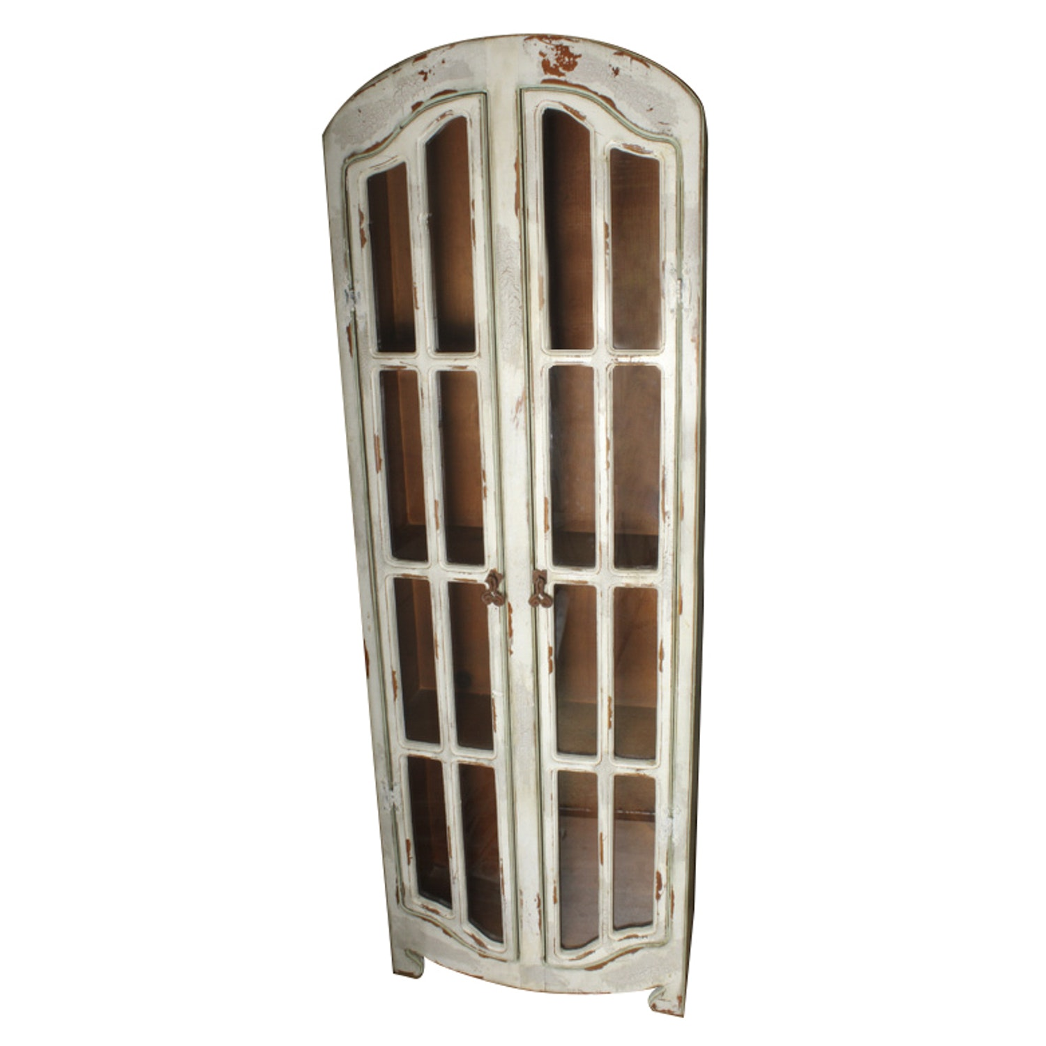 Pine Display Cabinet With Distressed Off-White Finish