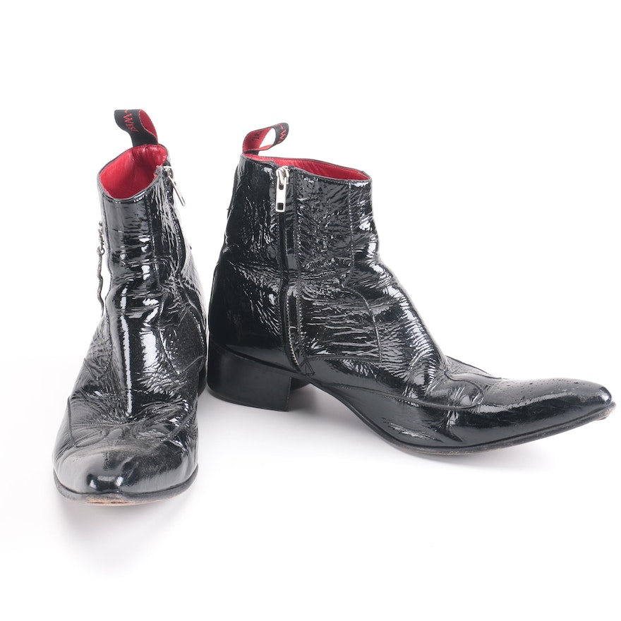 f69f36257be Jeffery West Men's Patent Leather Boots With Snake Charms | EBTH