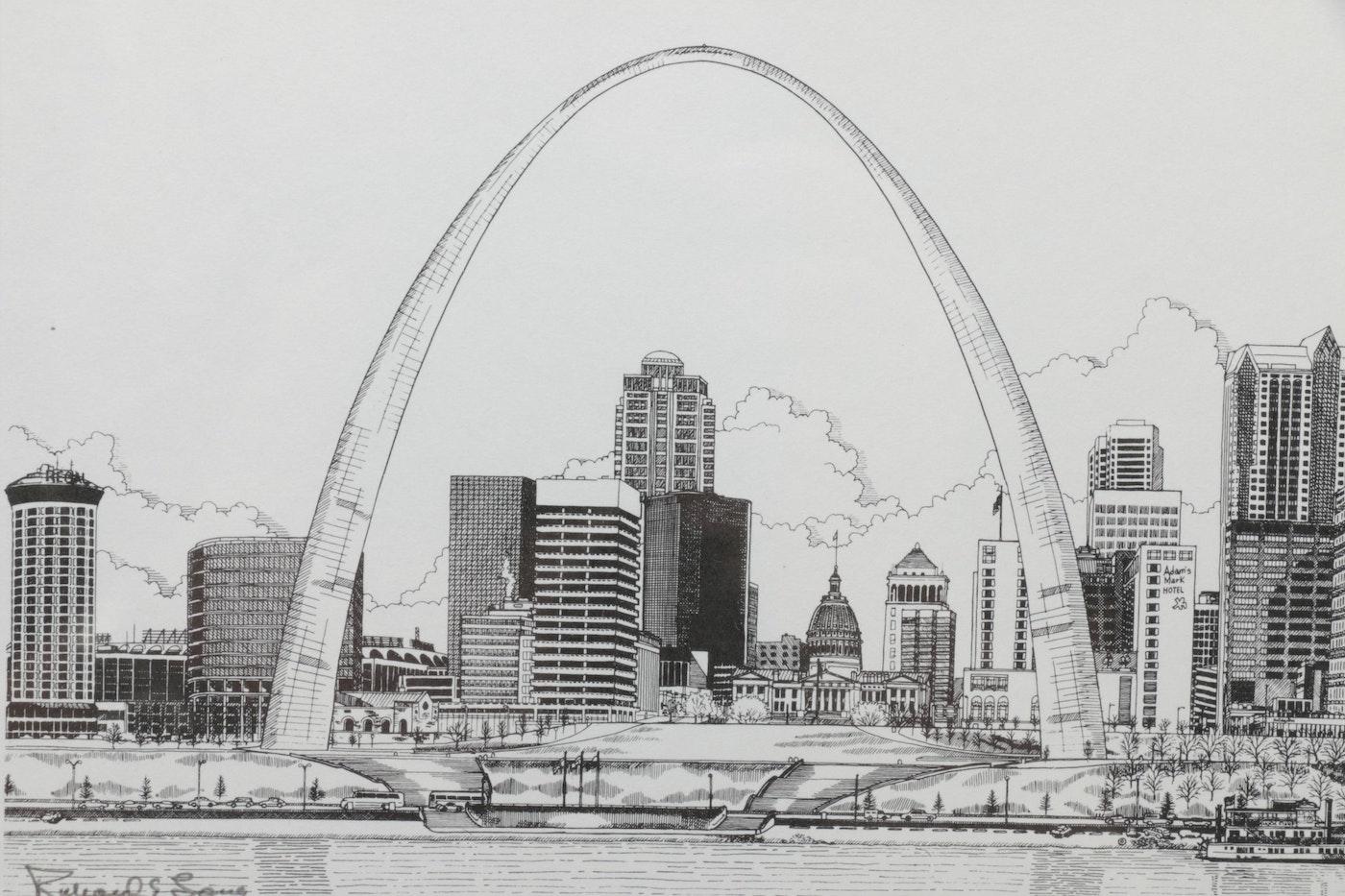Gateway Auto Sales >> Richard Long Lithographs of St. Louis Architectural Landmarks | EBTH