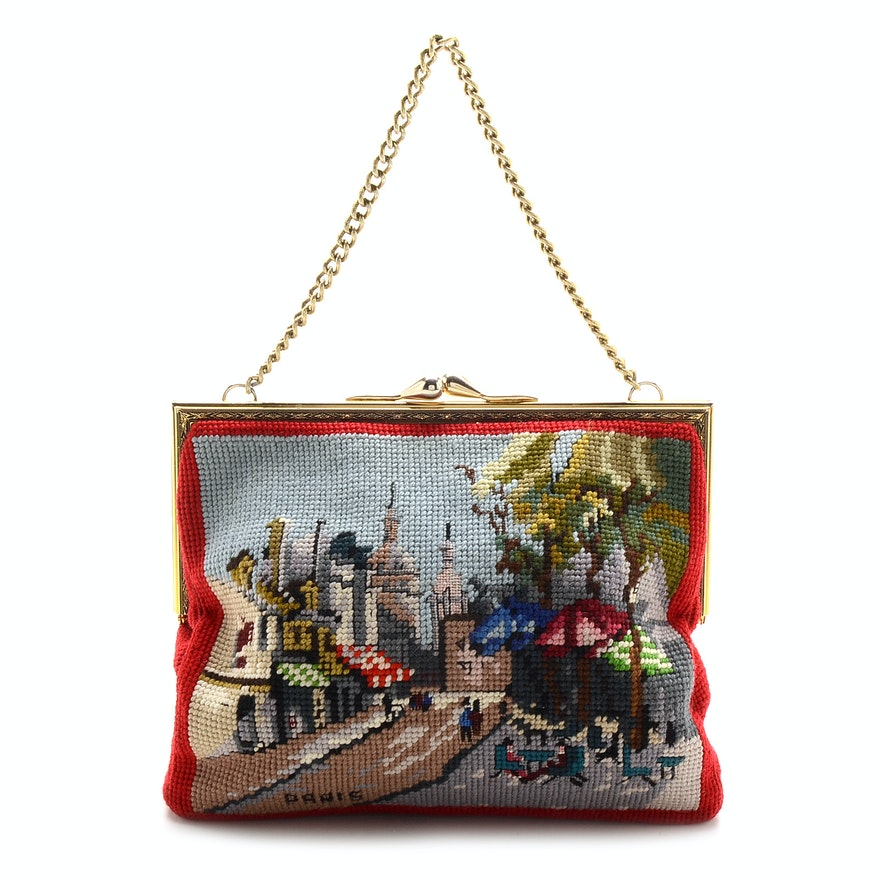 Vintage Christine\'s Custom Bags Needlepoint Frame Bag : EBTH
