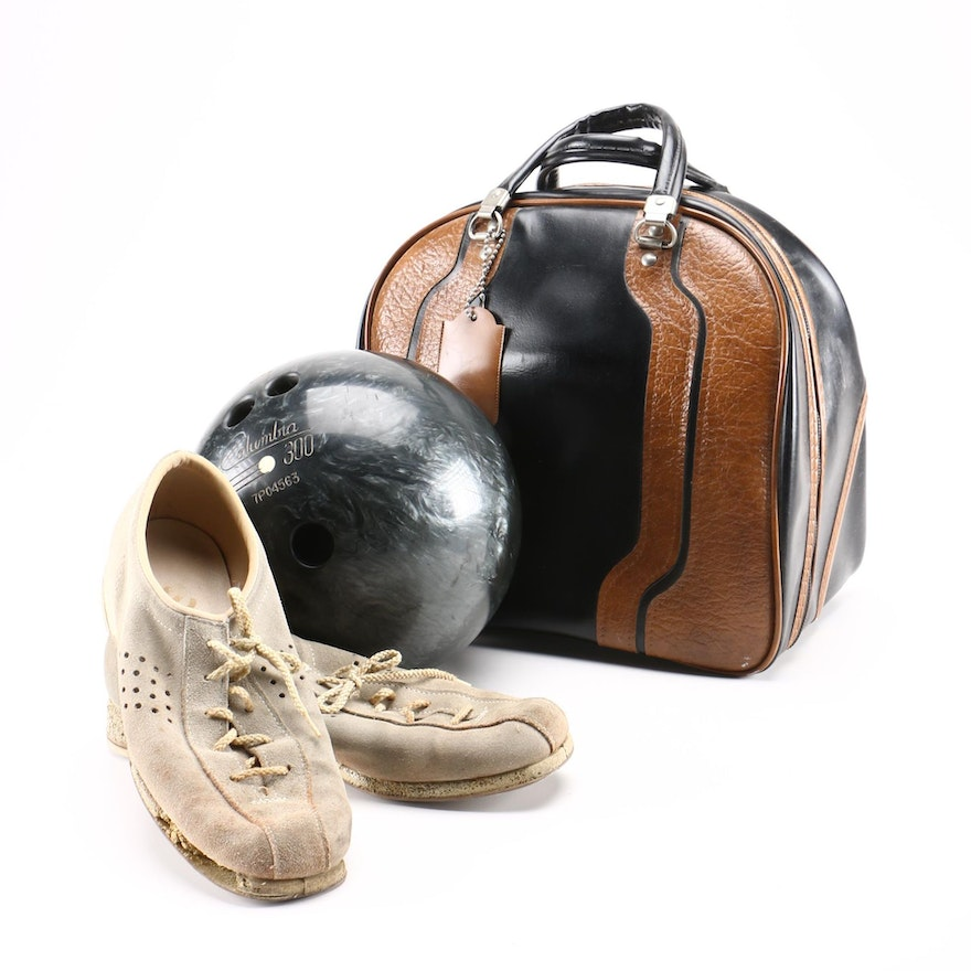 Vintage Bowling Ball Bag And Shoes
