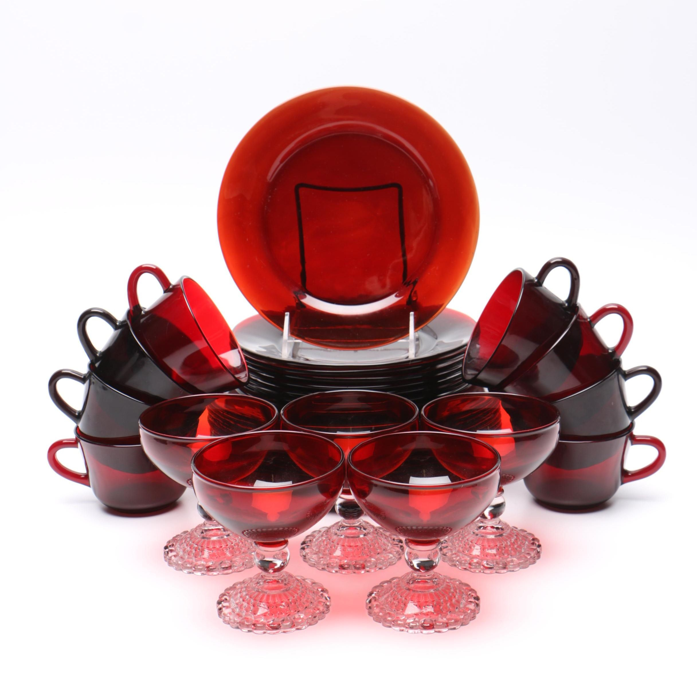 Assortment of Red Tinted Glass Tableware