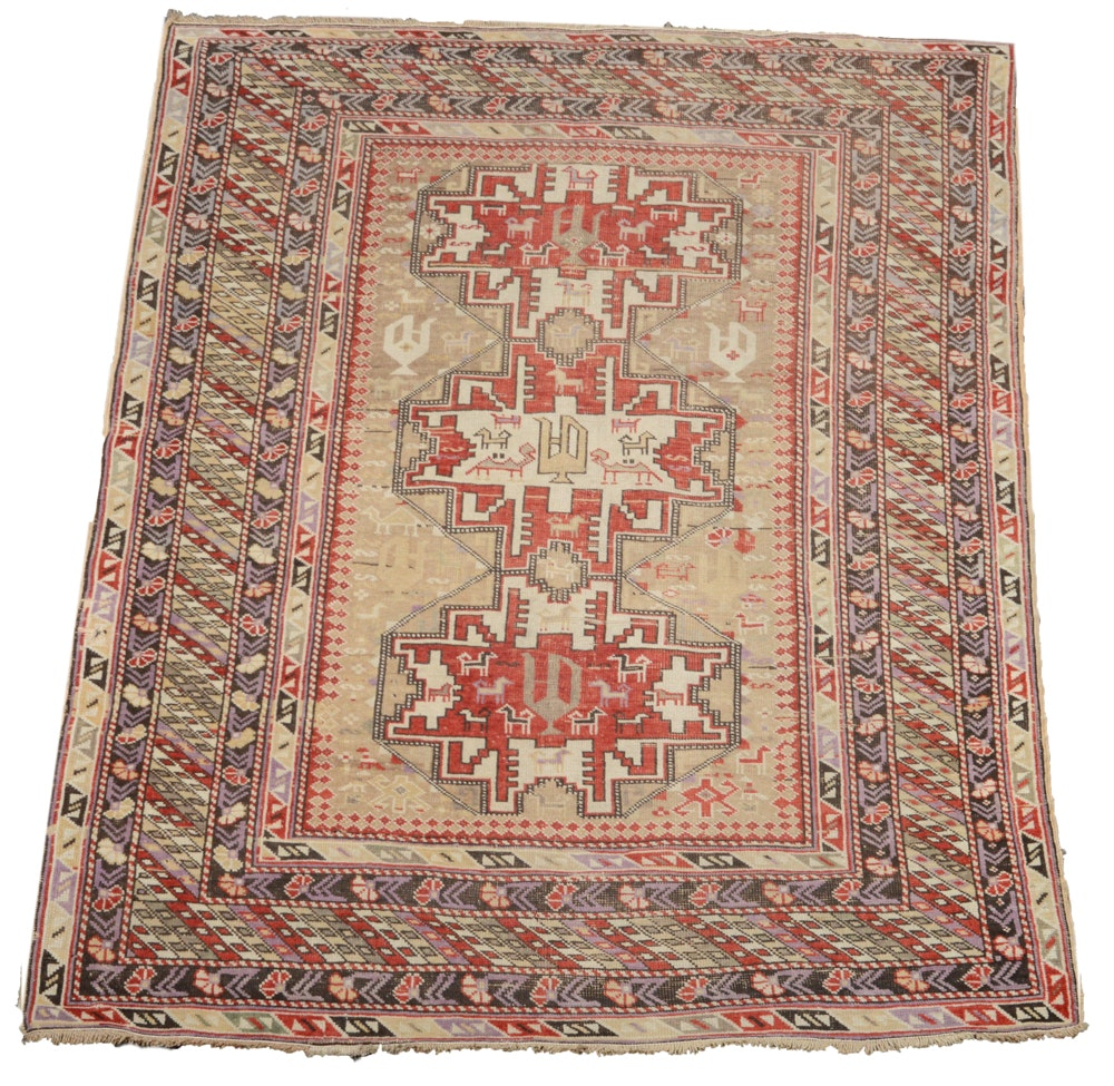 Antique Hand Knotted Turkish Anatolian Accent Rug