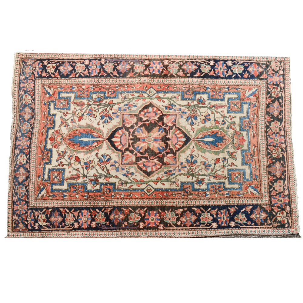 Antique Hand Knotted Persian Sarouk Accent Rug