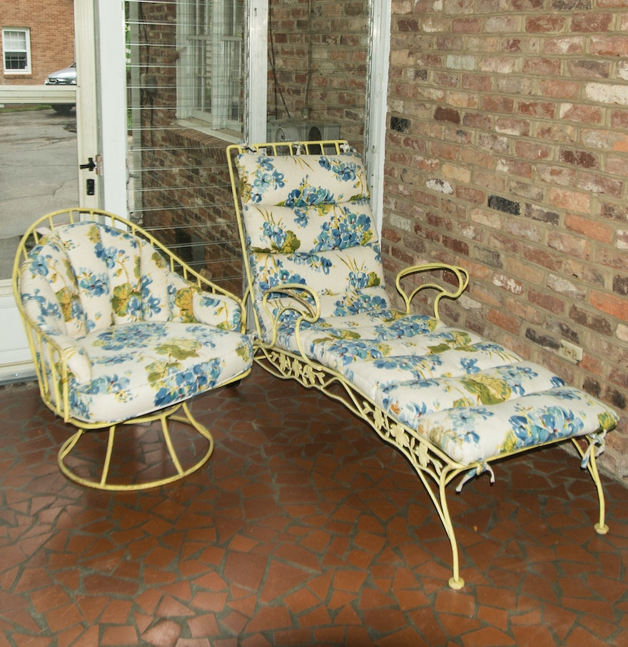 Vintage Metal Patio Lounge And Chair