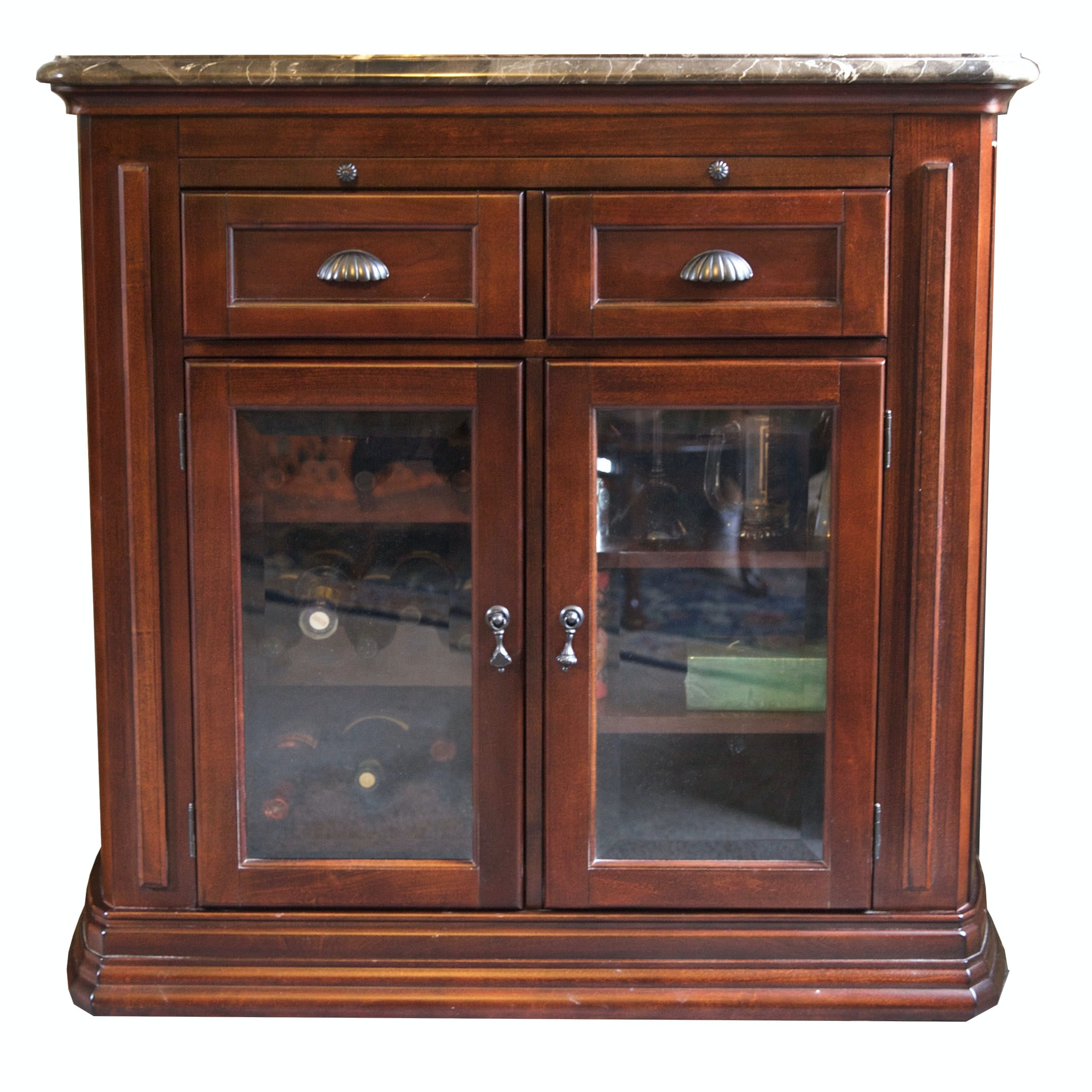 Cherry and Glass Bar Cabinet