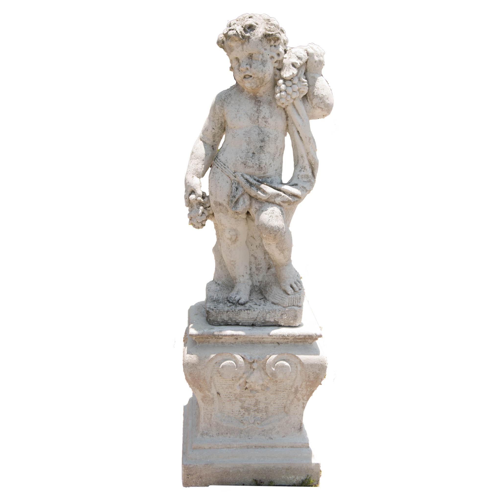 Outdoor Concrete Cherub Statue