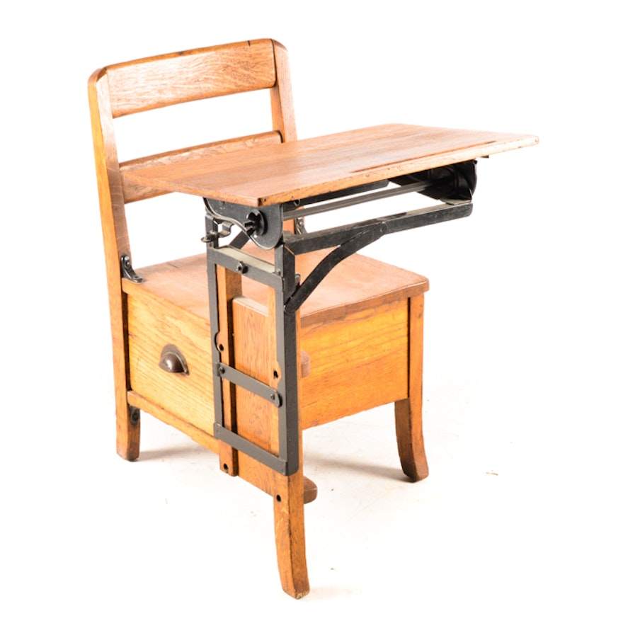 Antique Oak Moulthrop School Desk ... - Antique Oak Moulthrop School Desk : EBTH