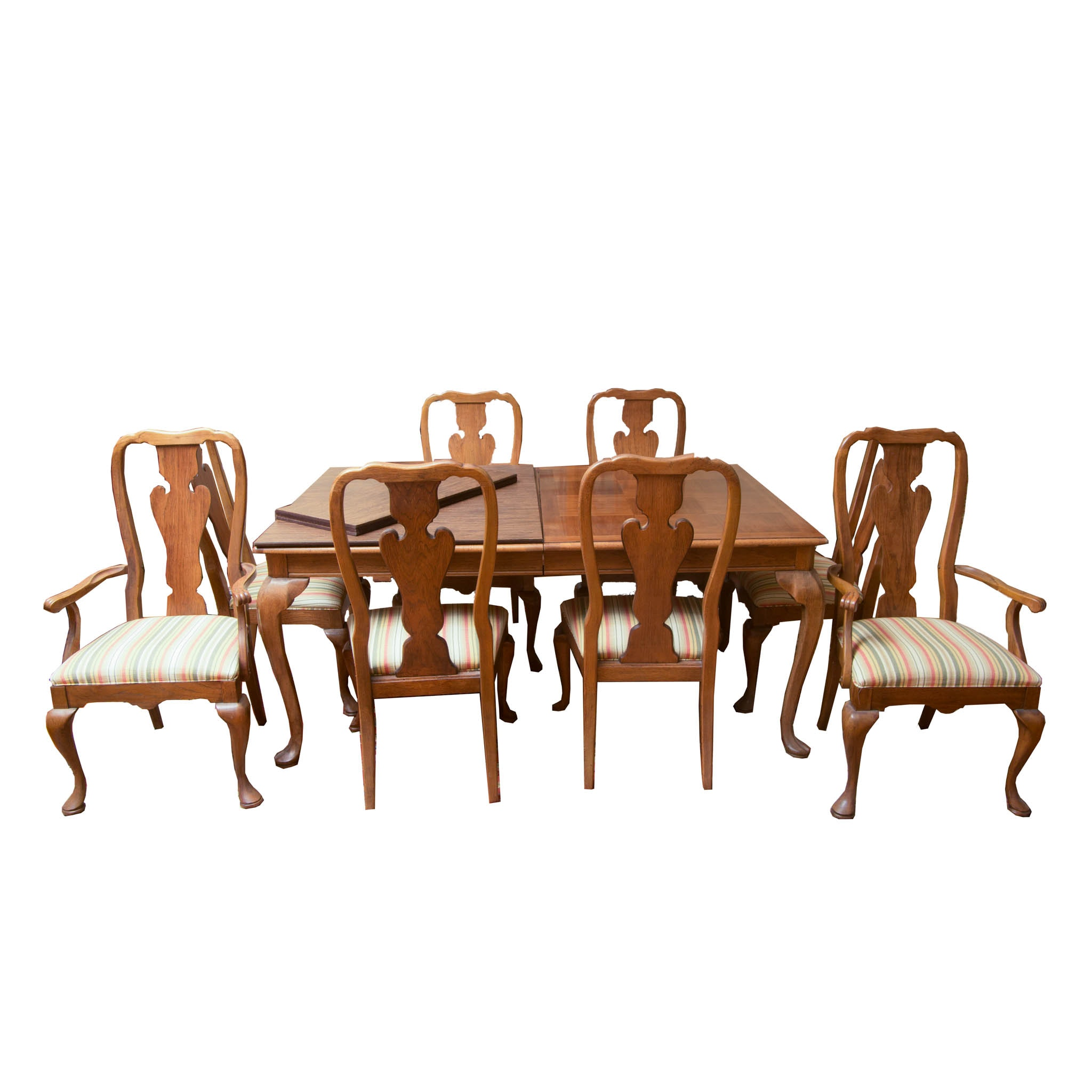 Thomasville Queen Anne Style Oak Dining Table And Chairs ...