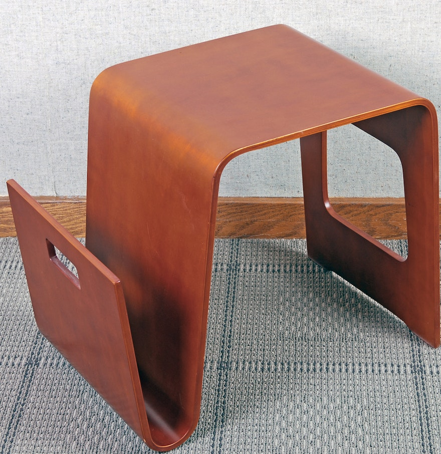 Mid Century Modern Bent Wood Accent Table With Magazine