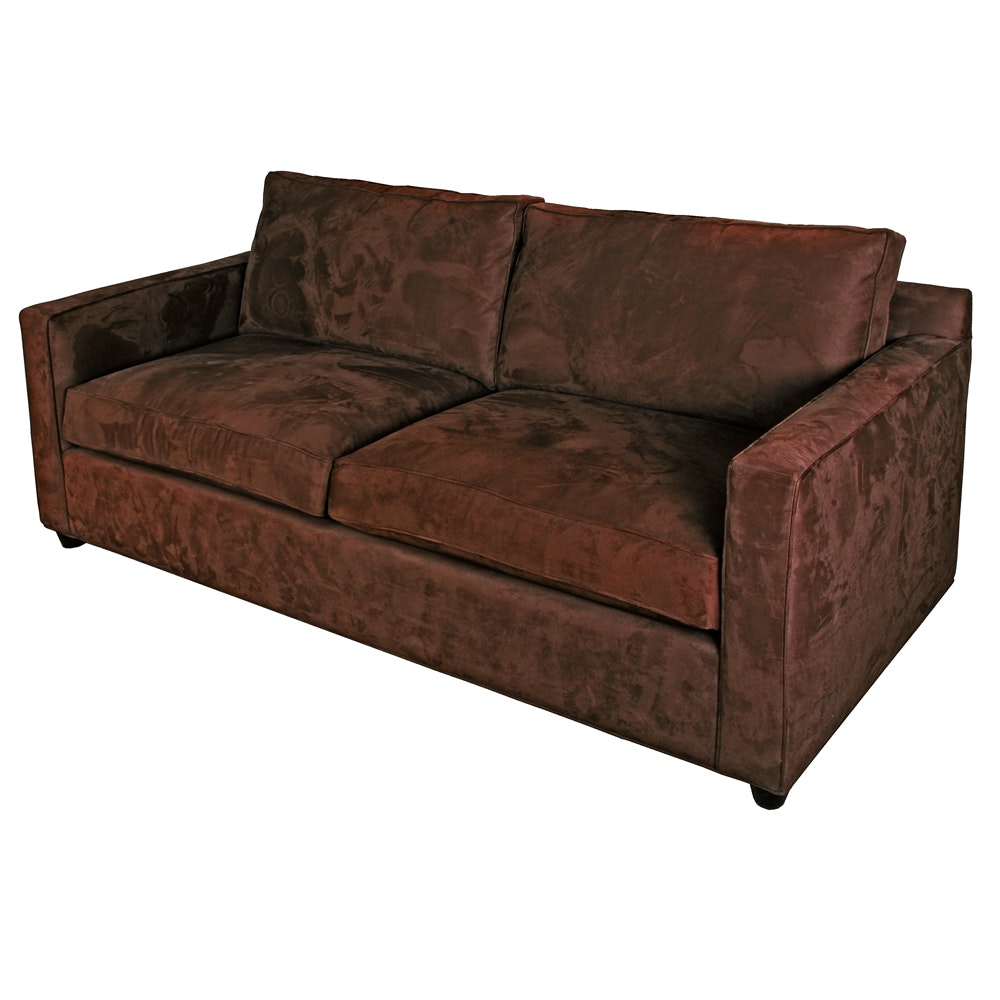 brown microsuede sofa by crate barrel ebth rh ebth com Microsuede Sectional Sofa Brown Microsuede Sofa Attracts Dust