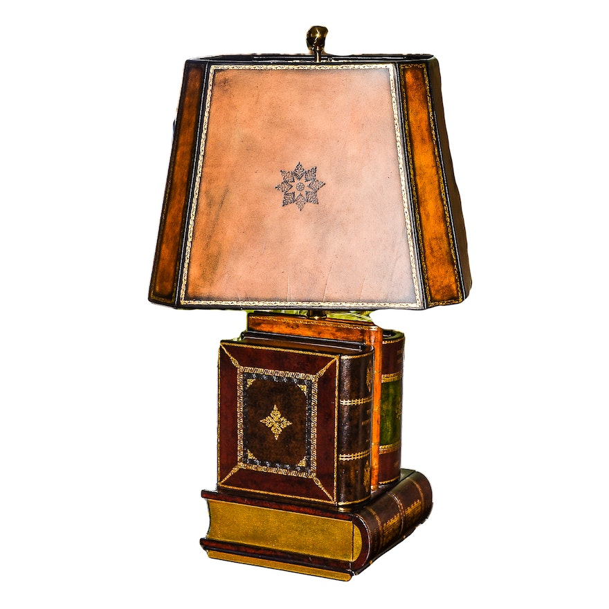 Novelty table lamp with hidden storage in faux books ebth novelty table lamp with hidden storage in faux books aloadofball Choice Image