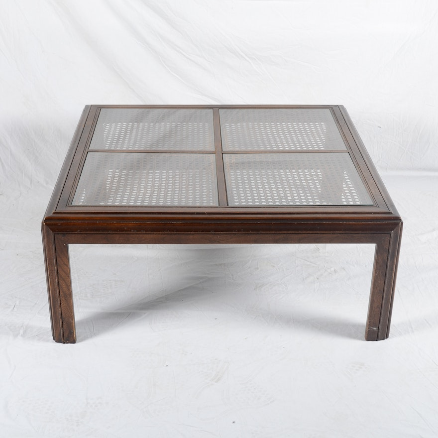 Cane And Glass Top Coffee Table By Lane