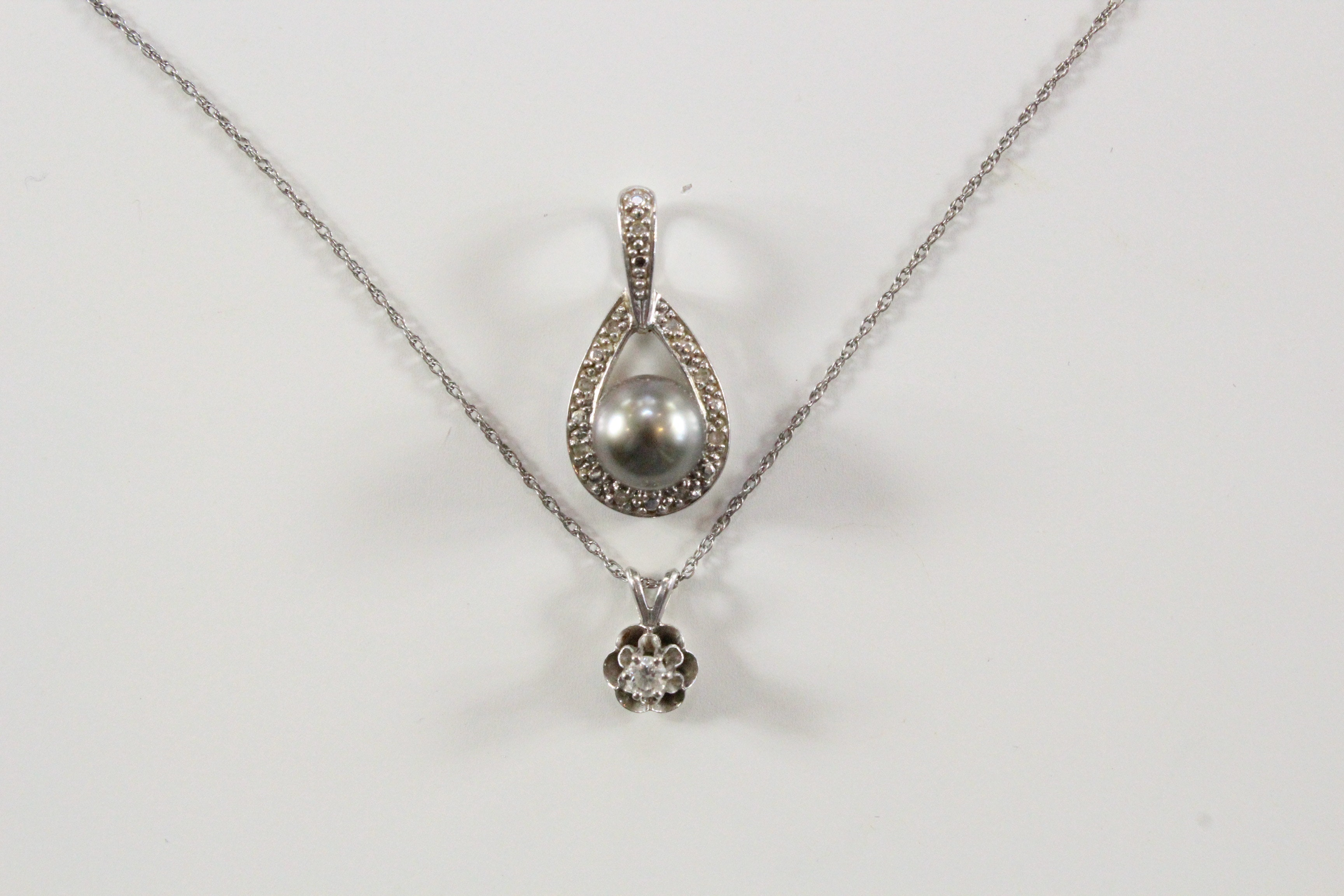 14k white gold pendant necklace and tahitian black pearl