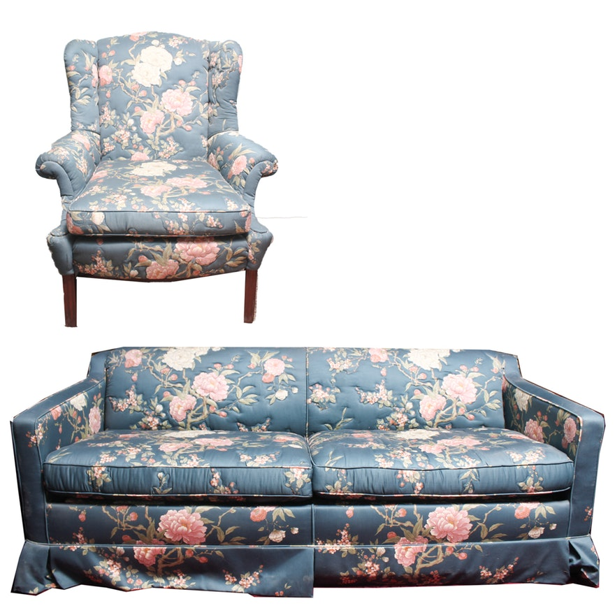 floral upholstered hide a bed sofa by simmons and wing. Black Bedroom Furniture Sets. Home Design Ideas
