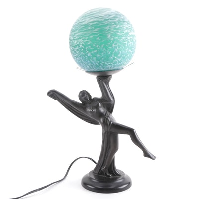 Steel Lamp of Woman Dancing with Glass Globe