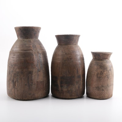 Primitive Wooden Urns