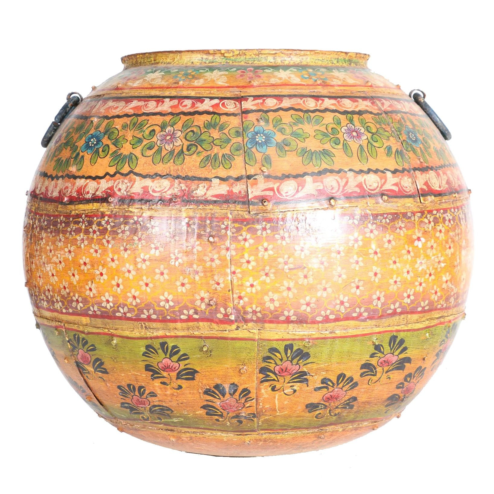 Large Hand-Painted Iron Pot