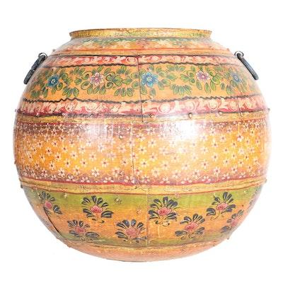 Large Hand-Painted Iron Pot